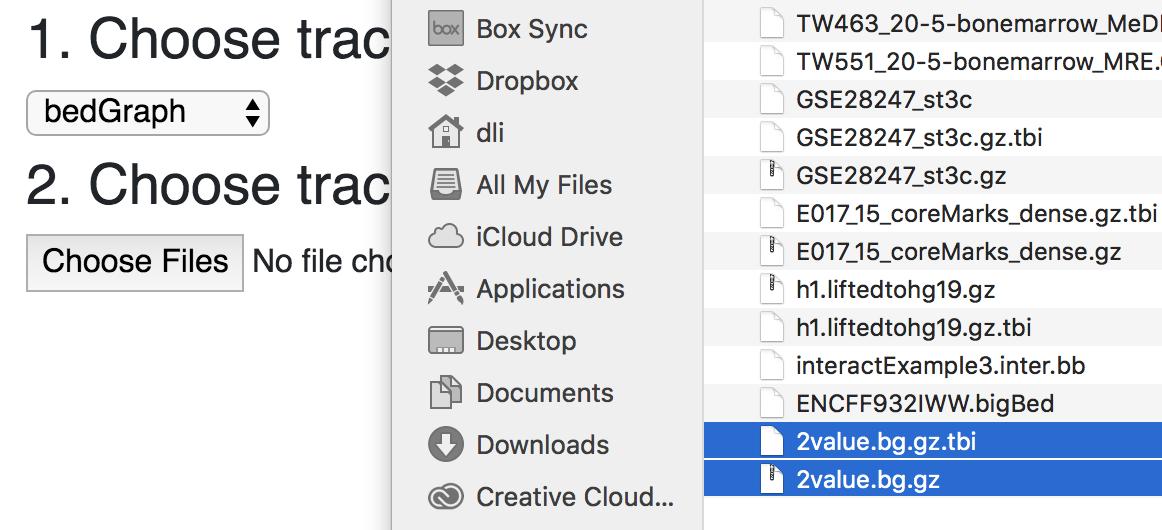 Local track files — WashU Epigenome Browser documentation